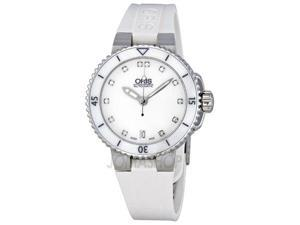 Oris Divers Date  White Dial Automatic Rubber Ladies Watch 01 733 7652 4191 07
