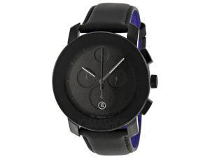 Movado Bold Black Dial Chronograph Leather Mens Watch 3600089