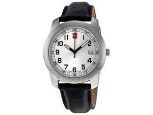 Victorinox Field Silver Dial Black Leather Mens Watch 26018.CB