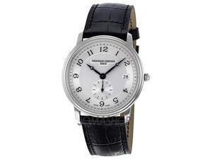 Frederique Constant Slim Line Silver Guilloché Black Leather Mens Watch 245AS4S6