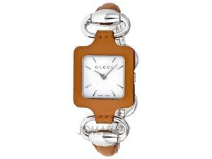 Gucci 1921 White Dial Camel Leather and Steel Bangle Ladies Watch YA130401