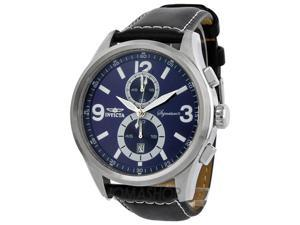 Invicta Signature II Elegant 7416 Men's Blue Dial Leather Strap Chronograph Watch