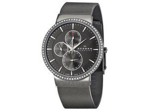 Skagen Multi-Function Grey Dial Crystal Bezel Ladies Watch 357XLMM