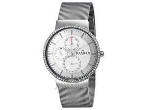 Skagen Multi-Function Silver Dial Crystal Bezel Ladies Watch 357XLSSS