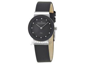 Skagen Denmark Gray Dial Crystal Markers Ladies Watch 358SSLM