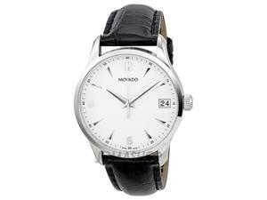 Movado Circa White Dial Leather Mens Watch 0606569