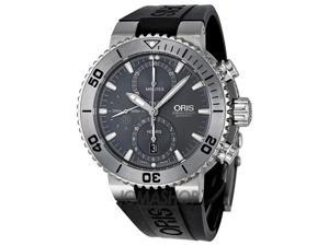 Oris Aquis Chrono Grey Dial Rubber Mens Watch 01 674 7655 7253-07 4 26 34TEB