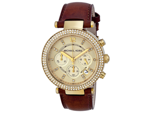 Michael Kors Chronograph Gold Dial Diamond set Ladies Watch MK2249