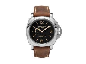 Panerai Luminor Marina Black Dial Brown Leather Mens Watch PAM00422