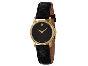 Movado Museum Black Dial Black Leather Ladies Watch 2100006
