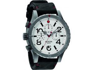 Nixon 48-20 Chronograph White Dial Black Leather Mens Watch A363486