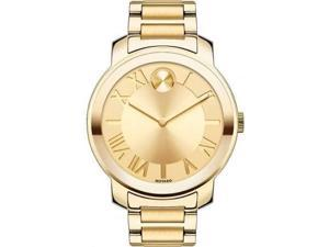 Movado Bold Champagne Dial Yellow Gold IP Steel Mens Watch 3600197