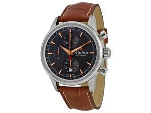 Alpina Alpiner Chronograph Automatic Grey Dial Leather Mens Watch AL-750VG4E6