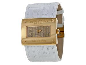 Versace V-Couture Gold Diamond Pave Dial White Leather Watch 71Q00SD91F-S001