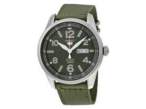 Seiko 5 Sports Automatic Green Dial Green Canvas Mens Watch SRP621