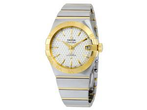 "Omega Constellation Silver ""Griffes"" Dial Steel and 18K Yellow Gold Automatic Mens Watch 123.20.38.21.02.009"
