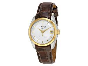 Tissot Couturier Silver Dial Ladies Leather Watch T0352072603100