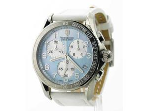 Womens Victorinox Swiss Army Leather Chrono Tachymeter Date Watch 241258
