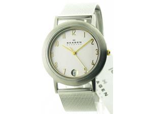 Mens Skagen Steel Slim Dress Date Watch 16LSGS