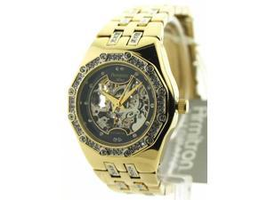 Womens Armitron Steel Automatic Crystal Watch 75-3723BKGP