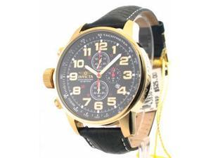 Mens Invicta Leather 3 Eye ChronoGraph Lefty Date Watch 3330