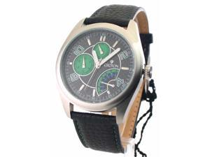 Mens Croton Leather Day Date 24 Hr Time Watch CN307161BSGR