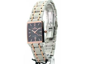 Womens Croton Steel Ultra Thin Two Tone Date Watch CN207247TTRG