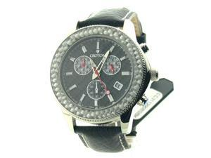 Mens Croton Leather Chrono 3 Eye Date Watch CC311295BSBK