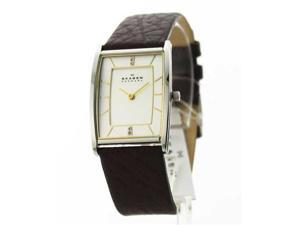Skagen Womens Leather Fashion Crystals Watch 294SSL1
