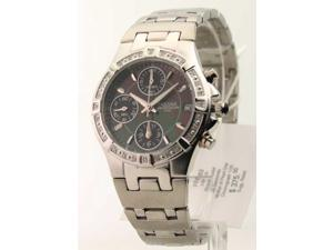 Womens Pulsar Steel Diamonds MOP Chrono Date Watch PF8263