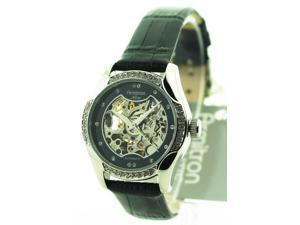 Womens Armitron Leather Automatic Crystal Watch 75-3721BKSVBK