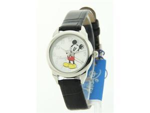 Disney Women's Mickey Mouse Black Croc-look Strap Watch MCK659
