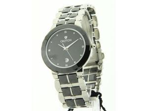 Womens Croton Ceramic & Stainless Steel Date Watch CN207318SSBK