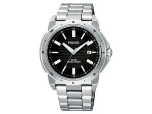 Mens Pulsar Stainless Steel Black Dial Date 10ATM Casual Watch PG8149