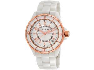 Womens Akribos CERAMIC 39mm White with Rose Gold Trim Dress Date Watch AK484WTR