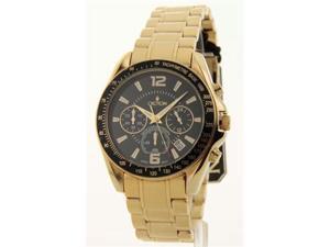 Mens Croton Goldtone Chronograph Tachymeter Date Watch CC311327YLBK