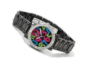 Invicta Women's Black All Ceramic Swiss Diamond Accents Black and Multi-Colored