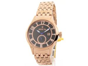 MENS INVICTA ROSE GOLDTONE STEEL GMT DATE NEW WATCH 12233