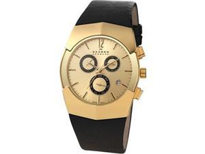 Skagen Men's Chronograph Gold Dial Black Leather