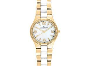 Anne Klein 10-9118WTGB GoldTone Ceramic Women Watch New