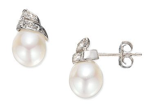 Cultured  Rice Pearl and Diamond 14K White Gold Earrings