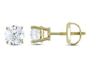 1 Carat Diamond 14K Yellow Gold Solitaire Stud Earrings