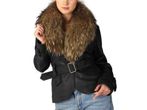 Jessie G. Women's Belted Lambskin Leather Jacket with Raccoon Fur Collar
