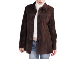 BGSD Women's Classic Suede Leather Car Coat