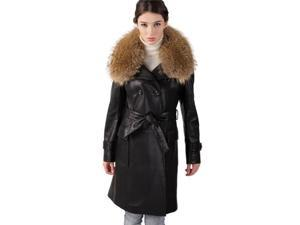 Jessie G. Women's New Zealand Lambskin Leather Trench Coat with Raccoon Collar