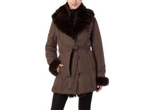 Jessie G. Women's Thinsulate Filled Wrap Coat with Removable Rex-Rabbit Fur Trim