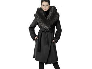 Phistic Women's Cashmere Blend Shawl Wrap Coat with Faux Fur Trim