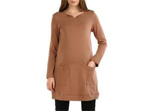 Momo Maternity Women's 'Autumn' Button Tunic in Gray, Burnt Olive or Taupe