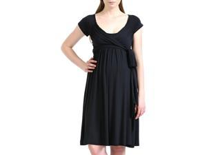 Momo Maternity Women's 'Gabby' Jersey Wrap Dress - Black XS