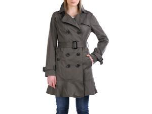 Jessie G. Women's 'Audrey' Skirted Hem Trench Coat - Gray L